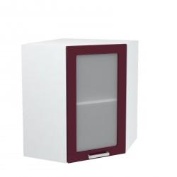 """Угловой навесной шкаф 600х600 угол скос со стеклом """"Танго"""""""