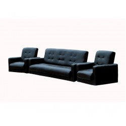 Комплект Аккорд экокожа темно-коричневая (диван + 2 кресла)