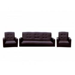Комплект Аккорд экокожа коричневая (диван + 2 кресла)