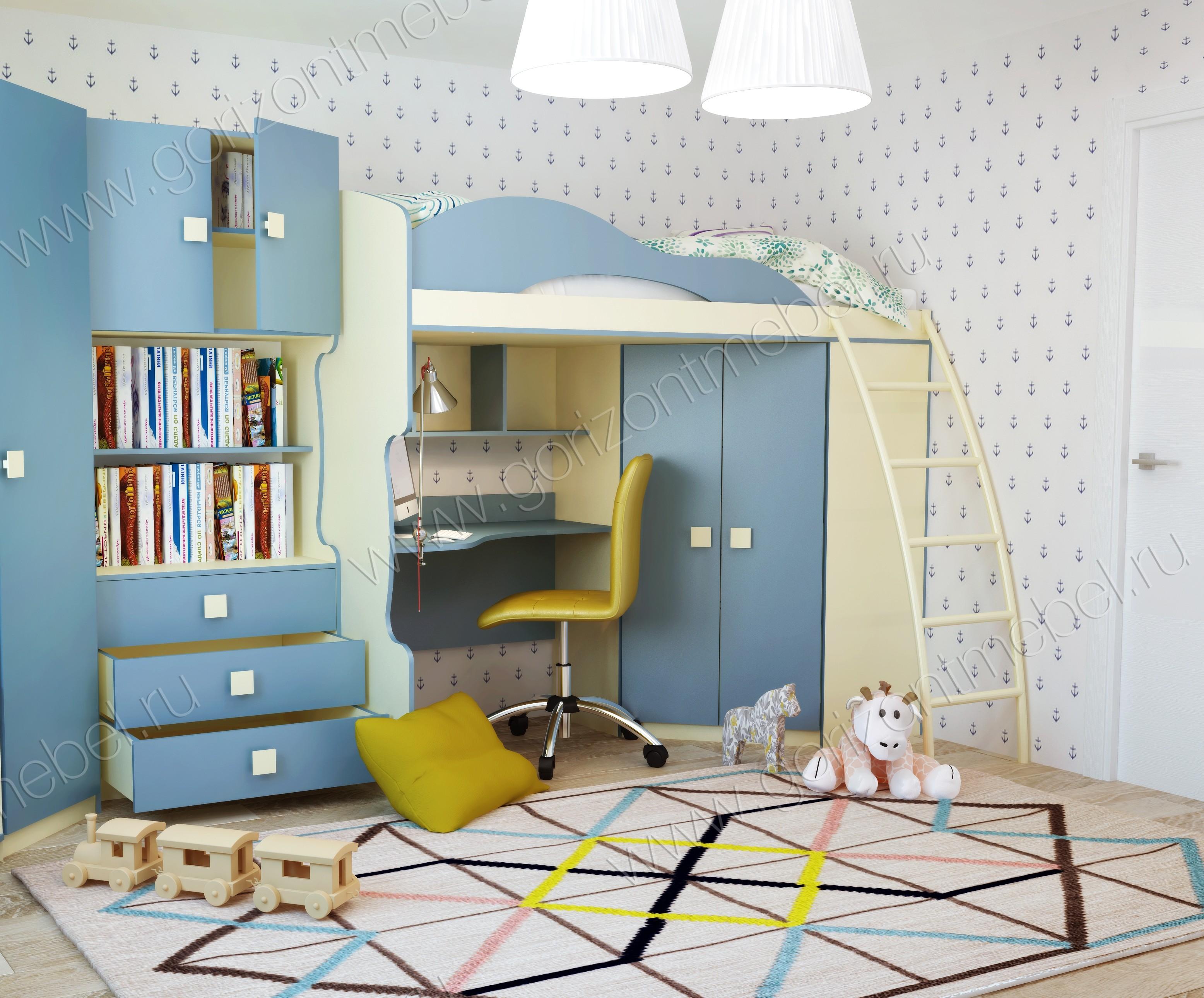 """Кровать 2 этаж + шкаф """"Радуга"""""""