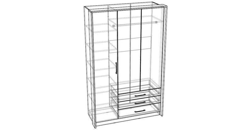 """Шкаф 3-дверный """"Беата"""" с ящиками"""