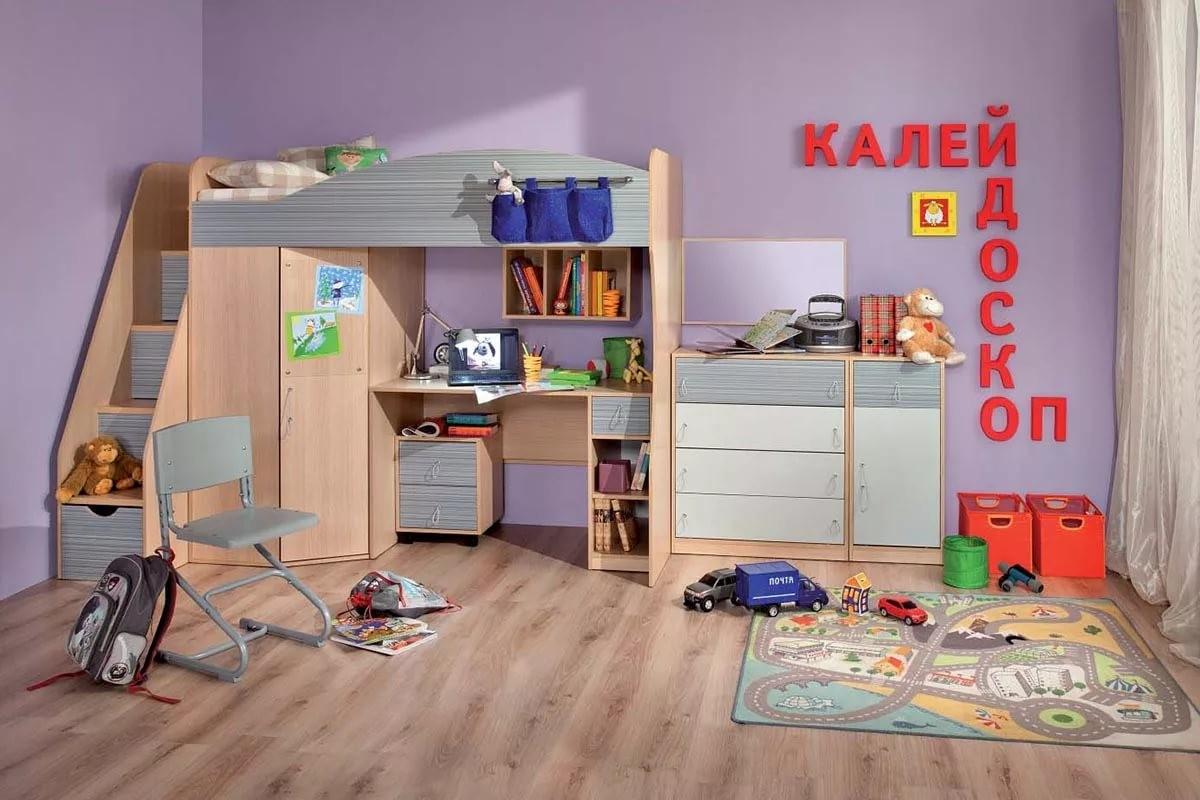 """Кровать 7 чердак """"Калейдоскоп"""" серая левая"""