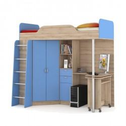 """Кровать- чердак со столом 427 Т """"НИКА"""" синий"""