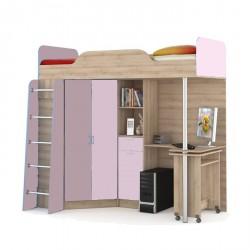 """Кровать- чердак со столом 427 Т """"НИКА"""" лаванда"""