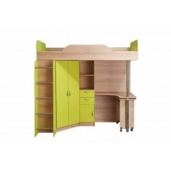"""Кровать- чердак со столом 427 Т """"НИКА"""" лайм"""