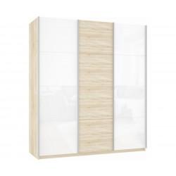 Шкаф-купе Прайм 3-дверный Белое стекло/ДСП/Белое стекло
