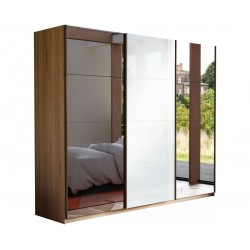 Шкаф-купе Прайм 3-дверный Зеркало/Белое стекло/Зеркало