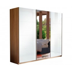 Шкаф-купе Прайм 3-дверный Белое стекло/Зеркало/Белое стекло
