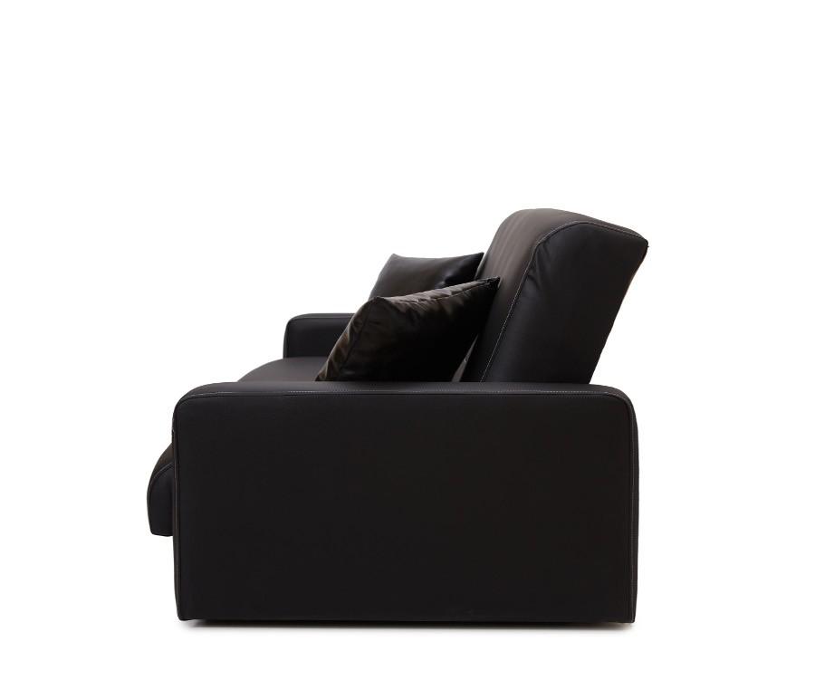 Диван Аккорд черный с белой отстрочкой (2 подушки в комплекте)